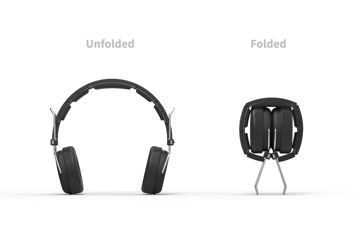 Headphones folded and unfolded
