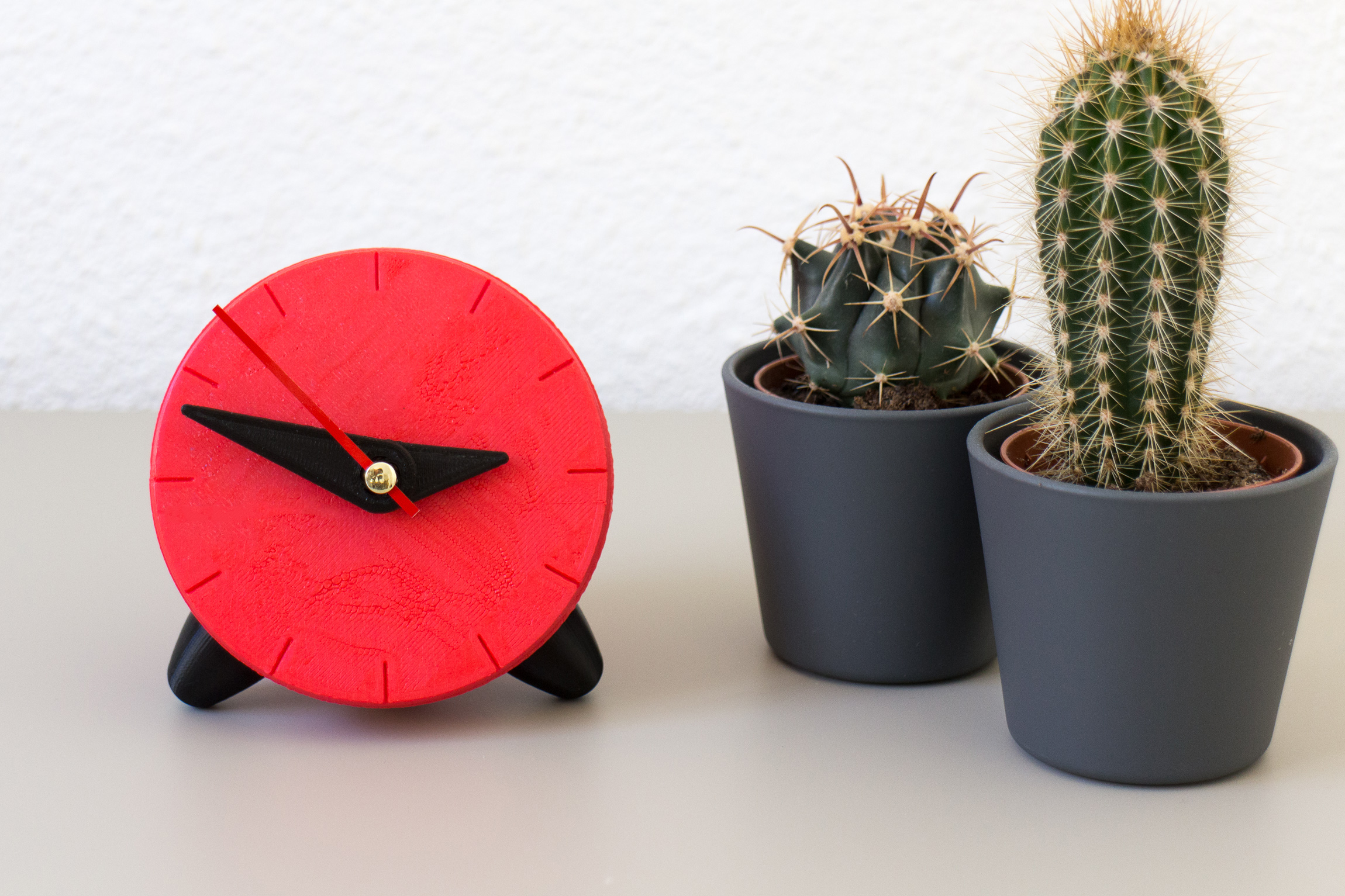Red 3D printed clock