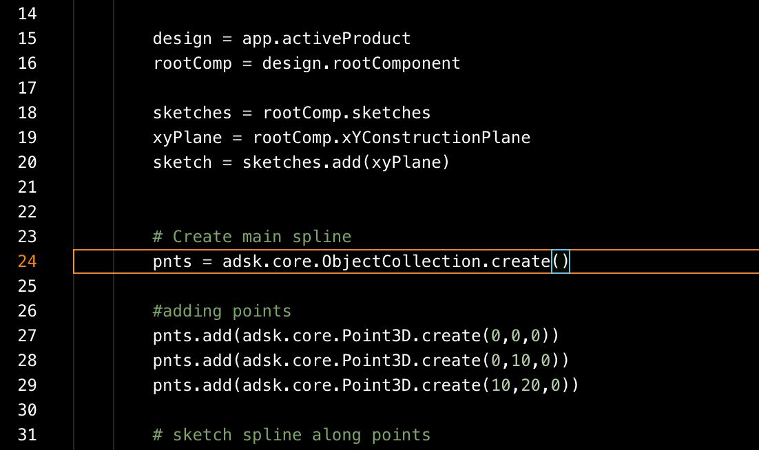 Fusion 360 API code