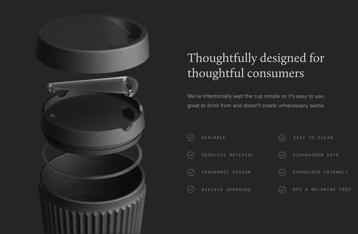 Design of reusable coffee cup
